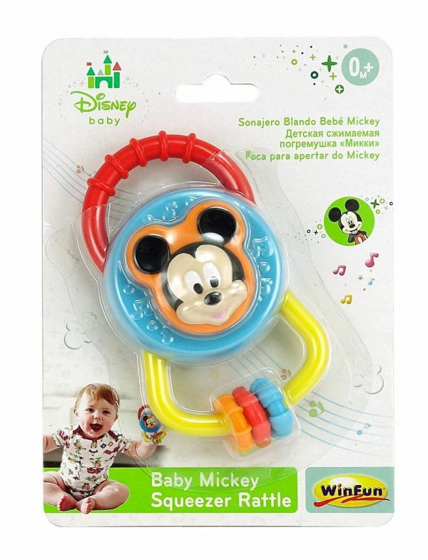 DISNEY Baby Mickey Mouse Squeezer Rattle Toy Teether BPA Free