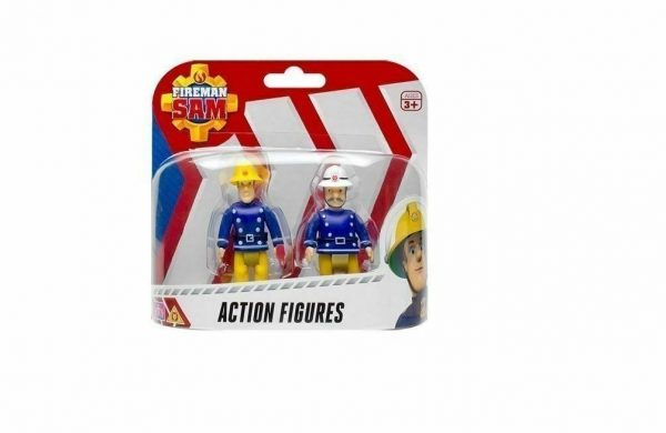 """Fireman Sam 2 Action Figure Pack Sam with Axe & Officer Steele 7.5 cm/3"""""""